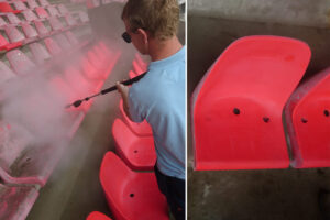 NEC maakt stadionstoeltjes schoon met verbluffend resultaat